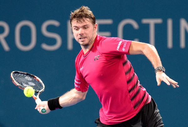 Stan Wawrinka lines up a forehand on Wednesday in Brisbane. Photo: Bradley Kanaris/Getty Images