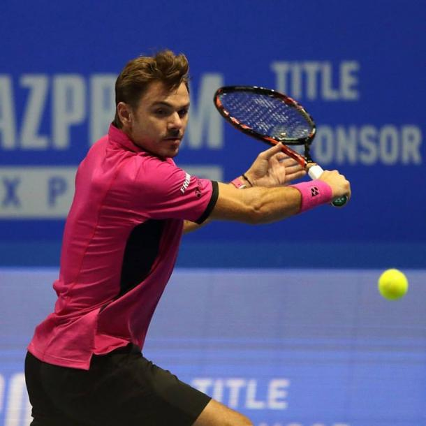 Wawrinka lines up a backhand during his semifinal win. Photo: St. Petersburg Open