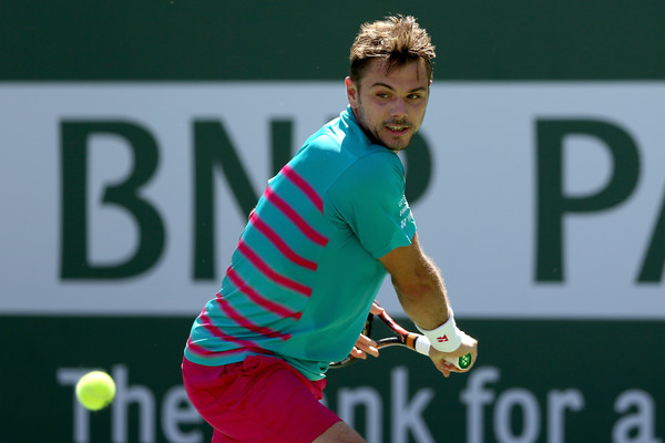 Wawrinka lines up a backhand on Saturday in Indian Wells. Photo: Matthew Stockman/Getty Images