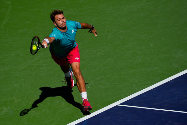 Stan Wawrinka lunges for a forehand during the Indian Wells final. Photo: Alex Goodlett/Getty Images