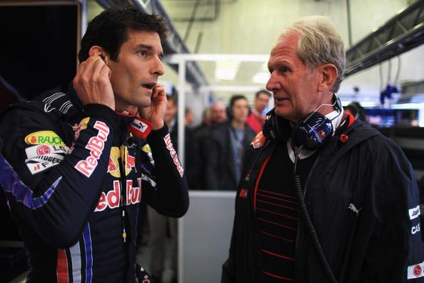 Mark Webber (esq.) e Helmut Marko (dir.) nunca tiveram uma ótima relação na Red Bull (Foto: Mark Thompson/Getty Images)