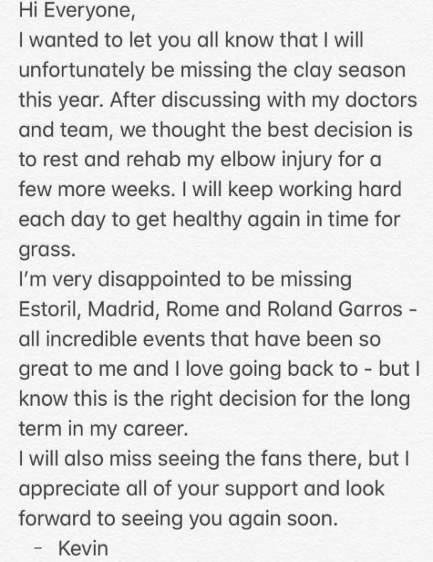Kevin Anderson's statement on Twitter.