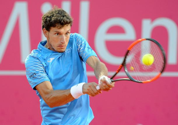 Pablo Carreno Busta playing at the Millennium Estoril Open (Photo by Millennium Estoril Open)