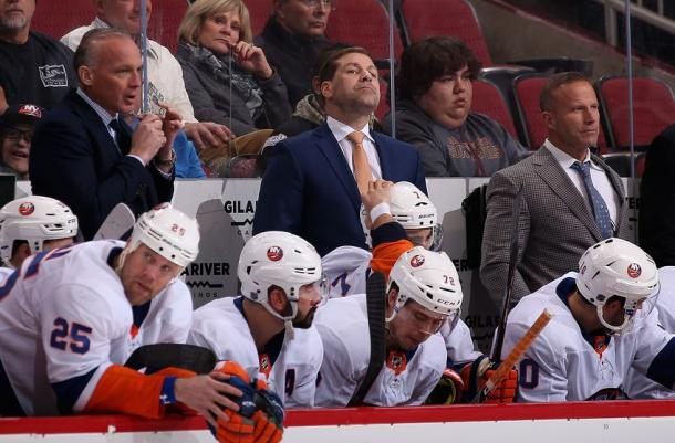 New York Islanders' head coach Doug Weight looks on as his club loses in OT to the Coyotes. (Photo: eyeonisles.com)