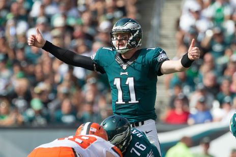 Philadelphia Eagles rookie quarterback Carson Wentz looked good in his first ever NFL game | Source: Mitchell Leff - Getty Images
