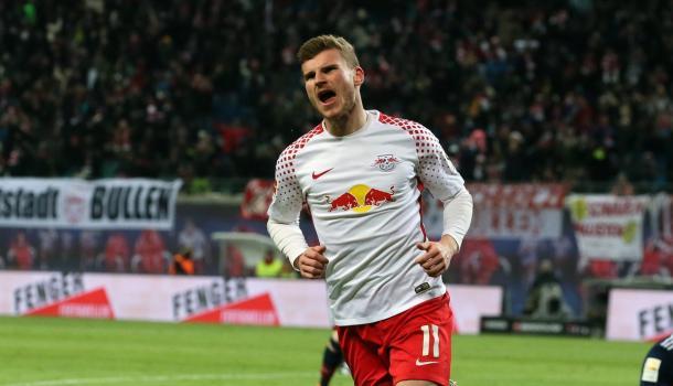 Werner foi o autor do gol da vitória de virada (Foto: Divulgação/RB Leipzig)