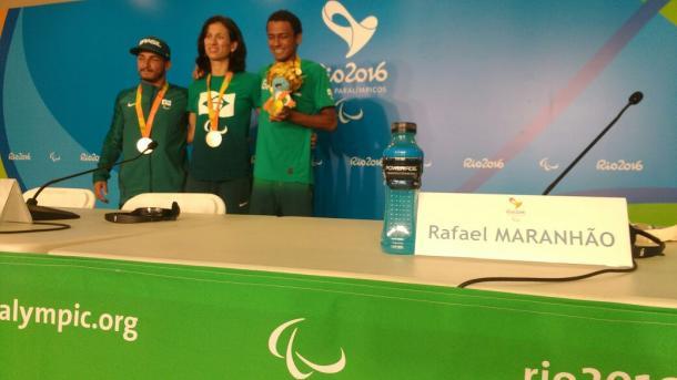Coletiva dos atletas foi realizada no Parque Aquático | Foto: Pedro Henrique Guimarães/VAVEL Brasil