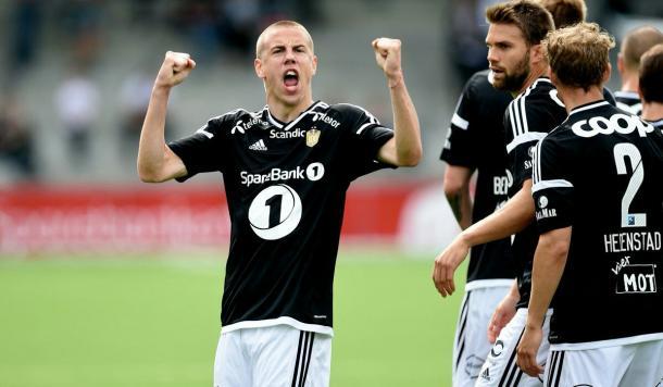 Jevtovic celebra un gol en liga. Foto: Rosenborg