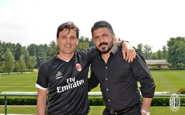 Gattuso (à dir.) assume o comando do Milan após a demissão de Montella (Foto: Divulgação/AC Milan)