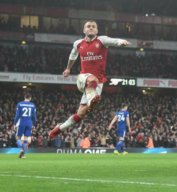 Wilshere celebra con rabia su golazo en el derbi. Foto: Arsenal