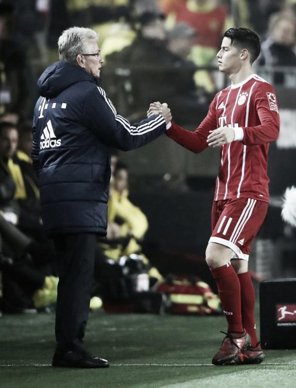 James Rodríguez y Jupp Heynckes   Foto: Twitter oficial Bayern Múnich (@FCBayernES)