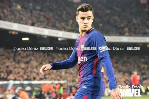 Coutinho en su debut en el Camp Nou | Foto: Noelia Deniz (VAVEL España)