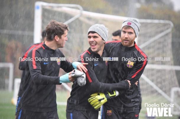 Jugadores del filial en el entrenamiento   Foto: Noelia Deniz (VAVEL España)