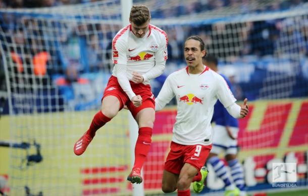 Werner vibrando com seu gol (Foto: Bundesliga)