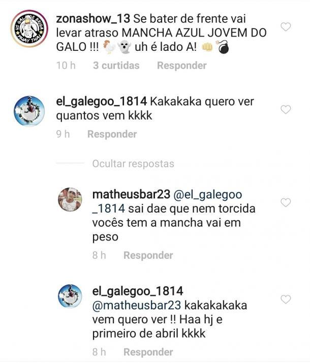Ameaças e desafios entre membros das organizadas de Botafogo-PB e CSA (Foto: reprodução/Instagram)