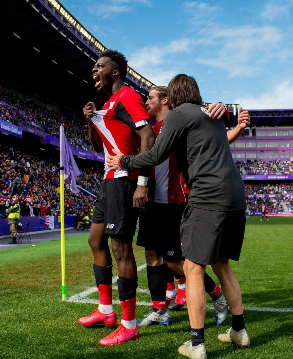 Los jugadores del Athletic celebrando el gol de Williams el pasado Marzo. Fuente: instagram @athleticclub