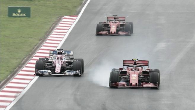 Batalla por el podio entre Leclerc, Pérez y Vettel (Fuente: F1.com)
