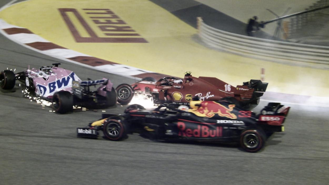 Accidente de Leclerc, Pérez y Verstappen (Fuente: F1)