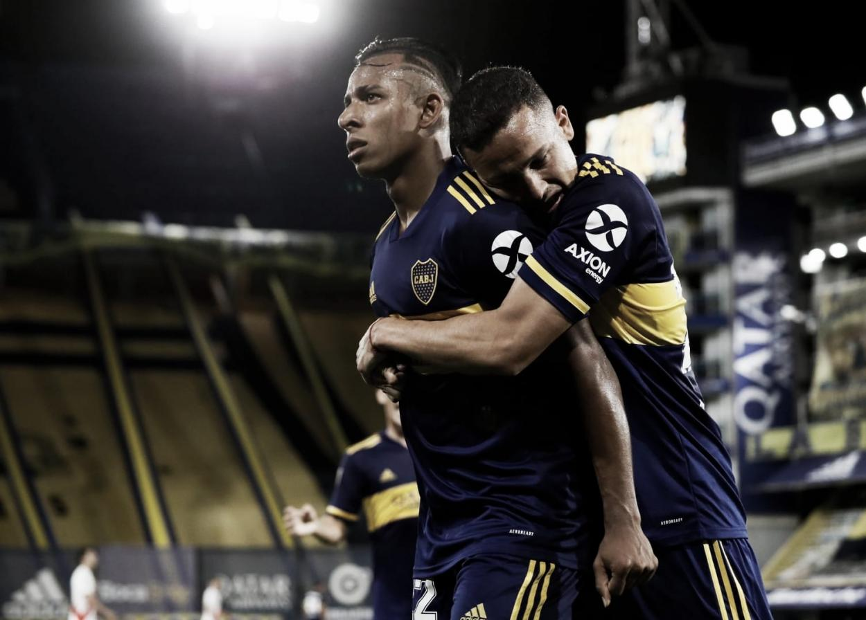 Villa celebrando el segundo gol de Boca.   Fuente: Boca Jrs Oficial