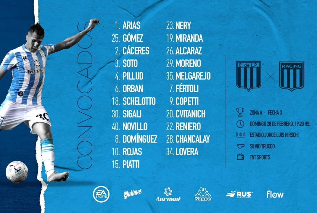 Lista de convocados para enfrentar a Estudiantes. (Foto: Racing Club)