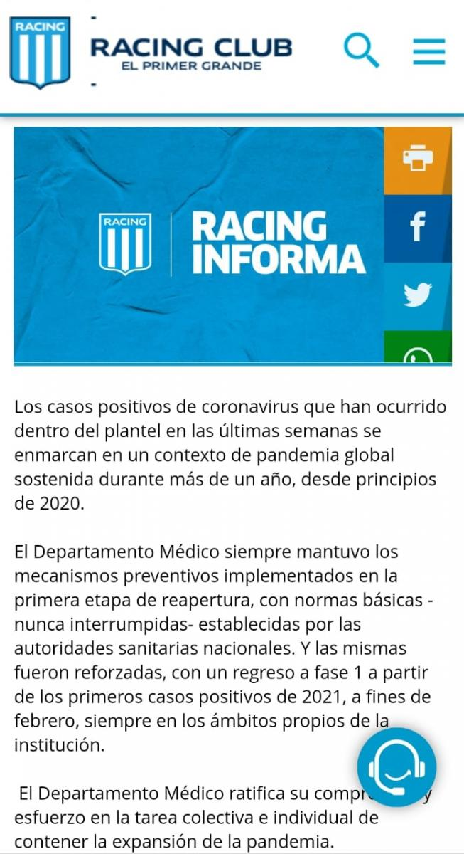 Comunicado del Departamento Médico de Racing. (www.racingclub.com.ar)