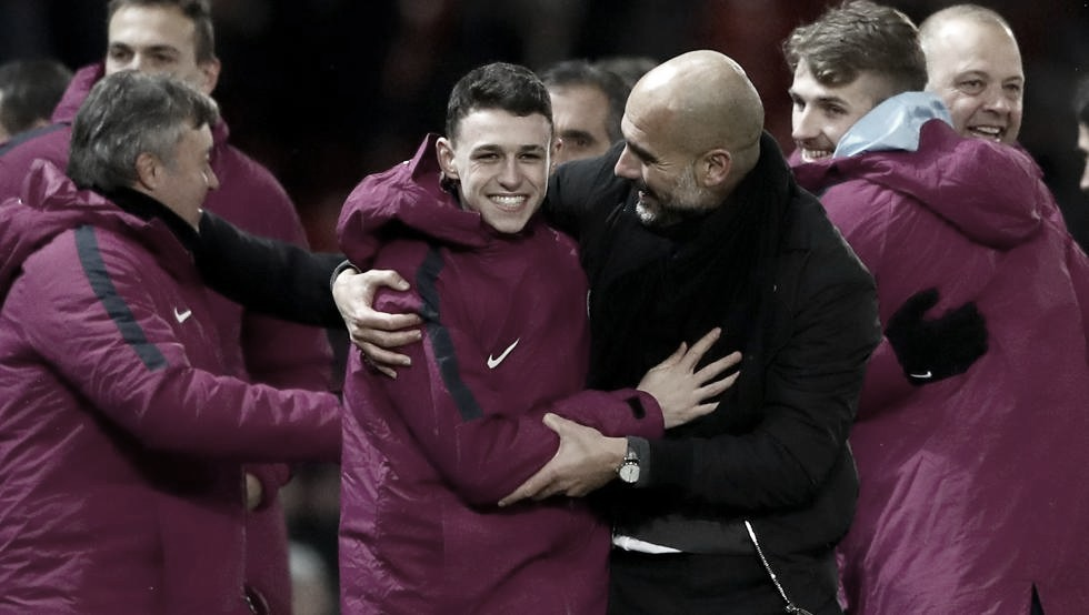 Foden y Guardiola. Foto: Premier League.