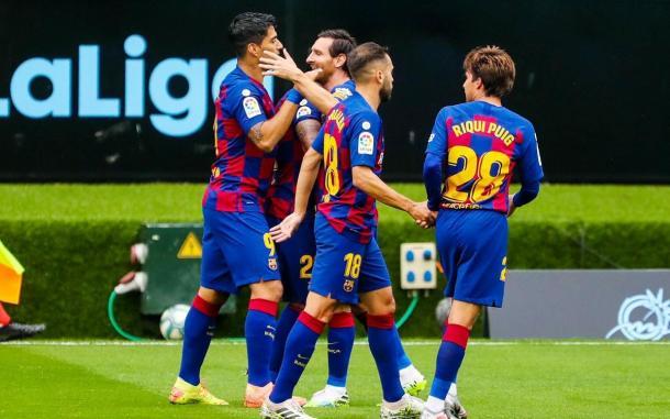 Luis Suárez y Leo Messi celebrando uno de los goles ante el Celta | Foto: FC Barcelona