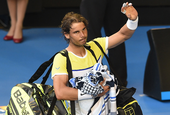 Rafael Nadal exits Rod Laver Arena following his first-round defeat. Credit: William West/Getty Images