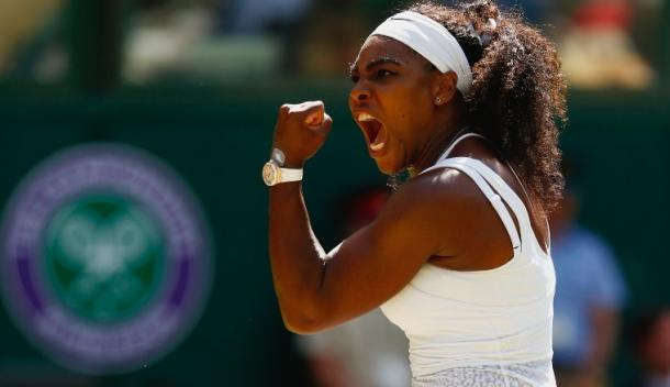 Serena Williams roars during her 2015 Wimbledon title run. Photo: Julian Finney/Getty Images