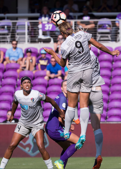 Lynn William (front) and Jess McDonald (left) were the core of the Courage offense to start the season, and they were suplemented by Ashley Hatch and Kristen Hamilton. | Photo: Joe Petro - Icon Sportswire via Getty Images