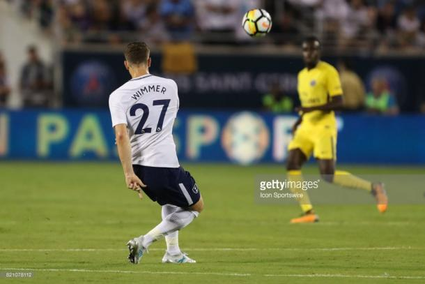 Wimmer plays a pass in a pre-season match agaisnt PSG this summer. Source | Getty Images.