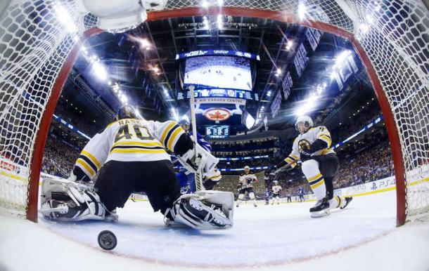 Ron Hainsey's point shot with 1:23 to go in the game beat Tuukka Rask, giving Toronto a hard-fought victory. Photo: Mark Blinch/NHLI via Getty Images