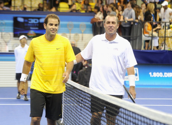 Pete Sampras and Ivan Lendl meet at the net after an exhibition match in New York in 2011 (WireImage/Jamie McCarthy)