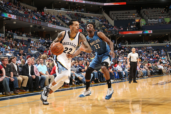 Matt Barnes drives past Andrew Wiggins last March. (Getty Images via Minnesota Timberwolves)
