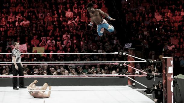 Xavier Woods eventually tapped out... Photo- WWE.com