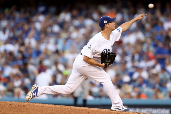 Rich Hill #44 of the Los Angeles Dodgers throws a pitch against the Houston Astros. |Source: Christian Petersen/Getty Images North America|