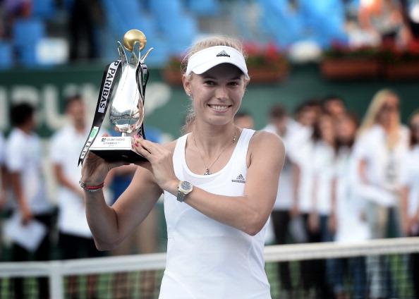 Wozniacki with the trophy in 2014 (Getty Images/Anadolu Agency)