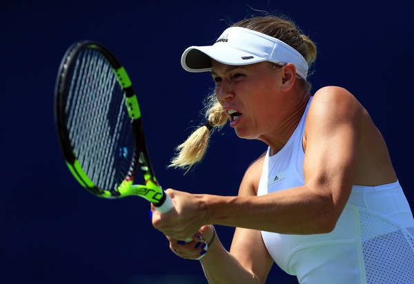 Wozniacki hits a backhand during her finals loss. Photo: Vaughn Ridley/Getty Images