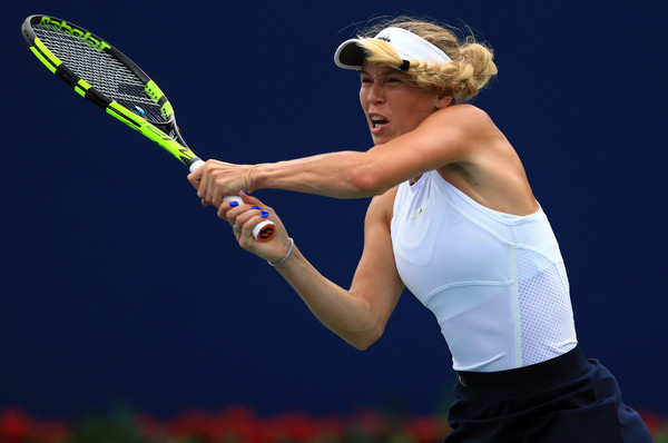 Wozniacki crushes a backhand on her way to an upset win. Photo: Vaughn Ridley/Getty Images