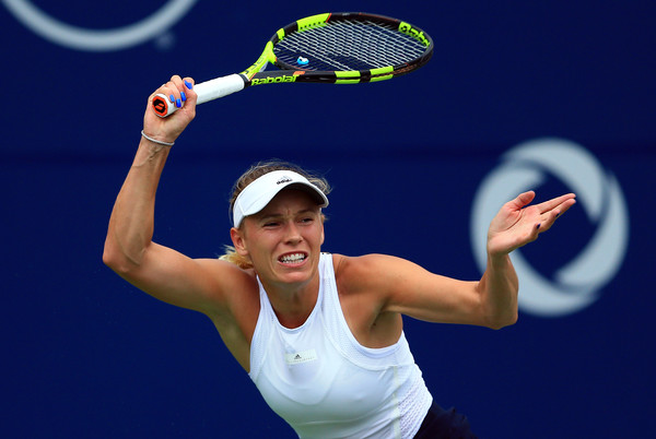 Wozniacki follows through on a forehand during her quarterfinal win. Photo: Vaughn Ridley/Getty Images