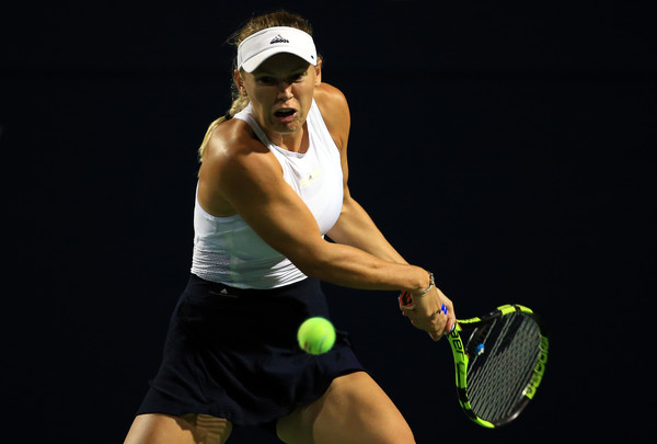 Wozniacki lines up a backhand. Photo: Vaughn Ridley/Getty Images