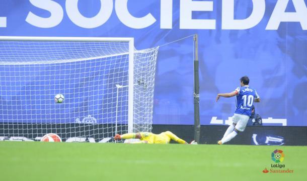 Sú último partido, su último gol... hasta el momento. Temporada 2017/18. Jornada 7. Real Sociedad - Real Betis. Fotografía: Web Oficial LaLiga.