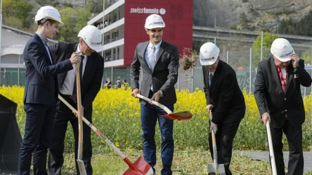 Federer was also to ceremonially break-ground at the new Swiss Tennis facilities, which will host a new WTA event next April, 2017. Credit: Keystone
