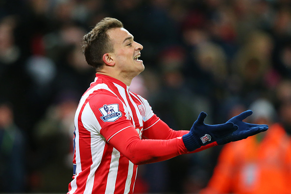 Xherdan Shari celebrates his goal against Newcastle United. (Getty)
