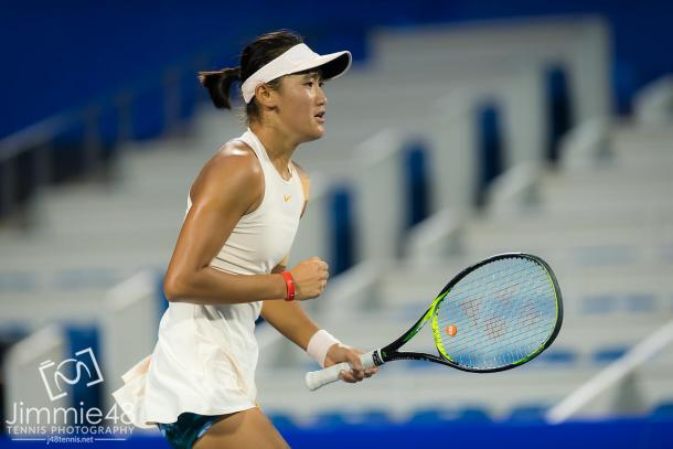 Wang Xiyu was just an inch away from closing out the biggest win of her career | Photo: Jimmie48 Tennis Photography