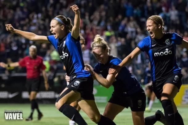 Beverly Yanez (left) celebrates after scoring the game-winning goal against the Washington Spirit in the 2015 NWSL Semifnal | Source: Brandon Farris - VAVEL USA
