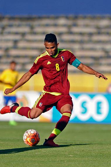 Yangel Herrera during a South American Championship U20 match against Brazil | Source: Juan Ruiz - AFP/Getty Images