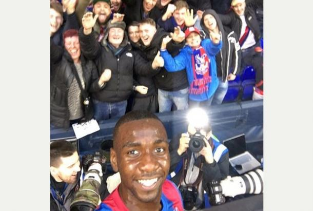 Yannick Bolasie taking a selfie with Crystal Palace fans last Saturday