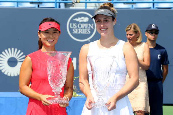 Dabrowski and Xu poses along with their trophies in Connecticut | Photo: Maddie Meyer/Getty Images North America