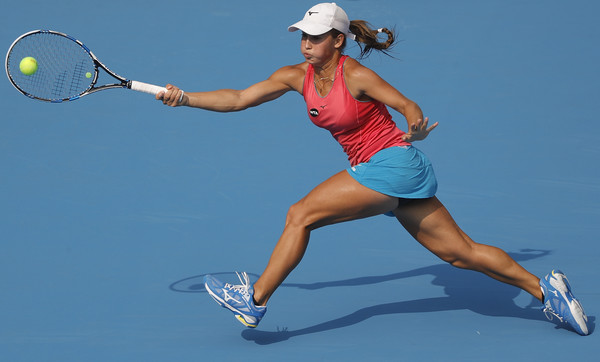 Yulia Putintseva runs down a forehand at the China Open in Beijing/Getty Images: Lintao Zhang